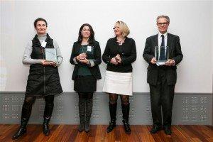 Dominique Derrien (à droite) lors de la remise des Trophées de la fondation Casino